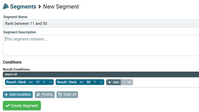 New - segment, rank between